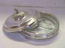 Vintage Crescent Silver Co Lidded Server Divided Crystal Dish Silver Plate