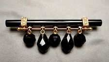 Antique Victorian 10K Gold Onyx & Seed Pearl Mourning Bar Pin Brooch w/ Drops