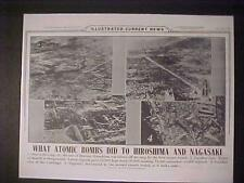 VINTAGE NEWSPAPER HEADLINE~WORLD WAR 2 ATOMIC BOMB HIROSHIMA NAGASAKI JAPAN WWII
