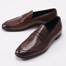 NIB $695 ERMENEGILDO ZEGNA Antique Brown Leather Loafers US 7 D Dress Shoes