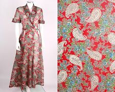 VTG 1930 1940s MULTICOLOR PLISSE CRINKLE PAISLEY FLORAL ROBE HOUSE COAT DRESS S