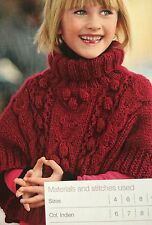 Girls Cable Poncho ( age 4 - 12 years) Knitting Pattern