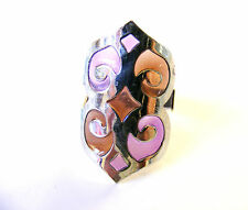 PURPLE LILAC BROWN SILVER GOTHIC ADJUSTABLE DRESS SCARF RING FREE UK POST! PB2