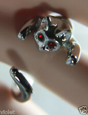 Cute cat ring Silver & red eyes NEW wraparound open ring, fits all adults