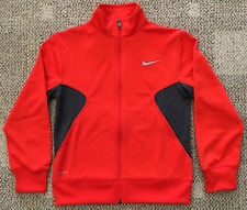 Boys Medium 10 12 Orange & Gray Nike Dri-Fit Full Zip Athletic Jacket 727991 891