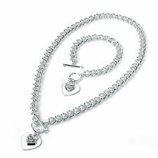"Stunning 18"" silver tone crystal heart charm T bar chain necklace & bracelet set"