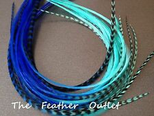 Lot 20 Grizzly Feather Hair Extensions long thin striped Real Tie Dye Blue OCEAN