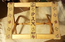 Vintage Wooden Luggage Rack Suitcase Stand Embroidered 1957 Shabby Roses