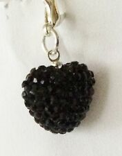 SPARKLY SHAMBALLA JET BLACK CRYSTAL 15mm HEART CLIP ON CHARM FOR BRACELETS - S/P