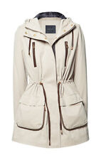 ZARA TAN SOLID HOODED PARKA /GUSSETED POCKETS NO FUR  POLYESTER   SIZE XL