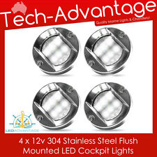 4 X 12V STAINLESS STEEL FLUSH MOUNTED CABIN COCKPIT TRANSOM BOAT YACHT LED LIGHT