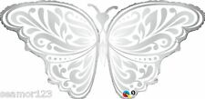 "Qualatex Wedding Butterfly 44"" Foil Balloon Silver"