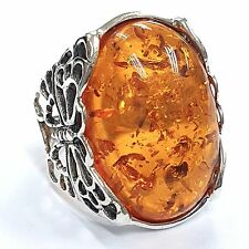ART NOUVEAU STYLE HONEY AMBER BUTTERFLY  RING 925 STERLING SILVER SIZE - 8