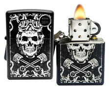 Zippo 29088 Skull Wrenches White Black Matte Finish Windproof Pocket Lighter New