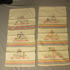 Dish Tea Towels Vtg Embroidered Days of  Week 6 Hand done Southern Belle