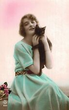 RPPC,Vintage Cat Postcard,Pretty Woman Holding Black Cat,Used,Belgian Stamp,1922