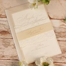Peach Encaje Rústico invitaciones de boda personalizado hecho a mano muestra