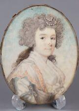 """Ritratto in Miniatura """"Donna Elegante Abito In Grigio"""", Cerchio di Philip Jean, intorno al 17"""