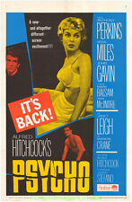 PSYCHO MOVIE POSTER Original 27x41 Folded R1965 ALFRED HITCHCOCK Janet Leigh