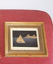 Wood Framed Chinese Lake, Sailboat, Village Cork Wood Carving