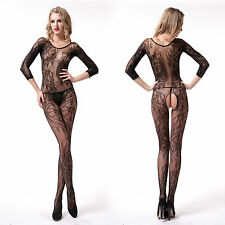 Fishnet Babydoll Dress Set Sexy Lingerie Underwear open crotch BODYSTOCKING V165