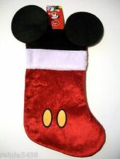 "18"" Disney Mickey Mouse Christmas Stocking Red Yellow Black & White With Ears"