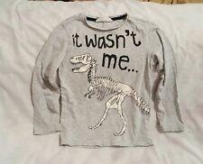 H&M It Wasn't Me Skeleton Dinosaur Kids Gray Long Sleeve Jersey Size 6 - 8Y