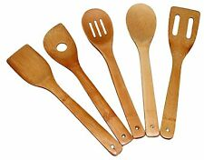 "Totally Bamboo Wood Utensil 5 Set 12"" Kitchen Cooking Tools Spoon Spatula Turner"