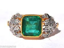 BEAUTIFUL CERTIFIED TOP CLASS 18KT GOLD 4.43 CT AAA ZAMBIAN EMERALD DIAMOND RING