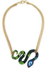 "NWT Betsey Johnson ""GARDEN OF EXCESS"" Crystal Snake Multi-chain Frontal Necklace"