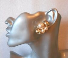 Lovely Faux Pearl and Gold Trim Clip-on Earrings - Chunky - SECONDS QUALITY