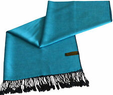 CJ Apparel Turchese & Nero Tinta Unita Design Scialle Pashmina Wrap secondi NUOVO