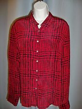 CASUAL CORNER RED & BLACK PRINT LONG SLEEVE CLASSIC DRESS SHIRT 14 NWT 2DIE4