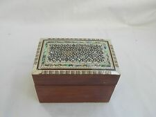 """Egyptian Mother of Pearl Inlaid Playing Cards Box 4.5"""" Holds 2 Decks of Cards"""