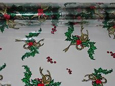 "4 Rolls 20"" x 100' Holly / Gold Christmas Designs Clear Cellophane Gift Wrap"