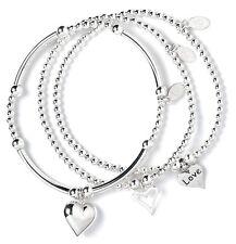Sterling Silver Ball Bead Bracelet Set of 3 Open Heart, Love Heart & Puffy Heart