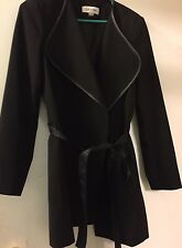 Calvin Klein Trench Coat Asymmetrical Belted Wrap Jacket Leather Trim Size 8 NEW
