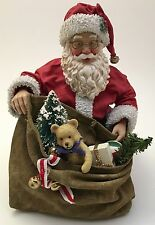 Possible Dreams Clothtique Santa Claus Kneeling With Bag Sack Of Toys Xmas AS-IS