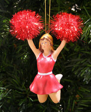 RED & WHITE CHEERLEADER w/RED TINSEL POM POMS CHRISTMAS ORNAMENT