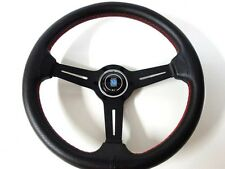 "High Quality Nardi Style Leather 13.8"" Strong Black Spoke Racing Steering Wheel"