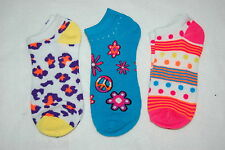 Womens Ankle Socks THREE PAIR LOT Fits 4-10 Shoe Size PEACE SIGN Polka Dots
