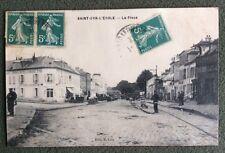 CPA. SAINT CYR L'ECOLE. 78 - La Place. 1912. Hôtel du Soleil d'Or. Café.