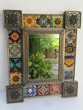 PUNCHED TIN MIRROR  mixed talavera tile,  hand made mexican mirrors folk art