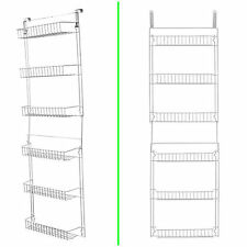 Storage Over The Door Basket Rack 5 Foot Pantry Organizer 6 Shelves Steel New