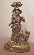 huge antique 13lbs heavy brass 1800's figural man w/ dog doorstop door stop lead