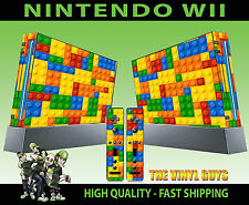 NINTENDO WII STICKER TOY BRICK WALL BUILDING BLOCKS GRAPHIC SKIN & 2 PAD SKINS