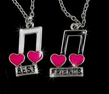 New Music Notes  Pink Heart Best Friend BFF Charm Pendant Silver Chain Necklaces