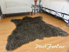 60 x 72 Black Tip Coyote Accents Faux Fur Area Rug Bearskin PlushFurEver
