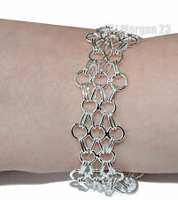 Ladies 925 Silver Round Weave Chain Link Bracelet Bangle