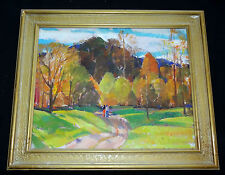 """1950s AMERICAN OIL on CANVAS PAINTING """"AUTUMN SCENE"""" by CARL WILLIAM PETERS (Jos"""